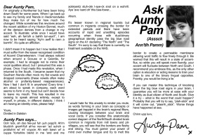 Ask Aunty Pam (2013) by Laura Dee Milnes for Black Dogs