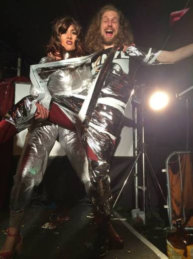Sarah Gavin and Tom Jackson as Madge and Rodge, Klub Singers' Klassik Karaoke Klub, Beacons Festival (2014). Photo courtesy of the artists
