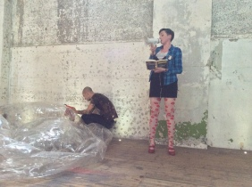 Laura Dee Milnes as Unsavoury Compere (2014) at Beg, Borrow, Steal #5, Dilston Grove, London