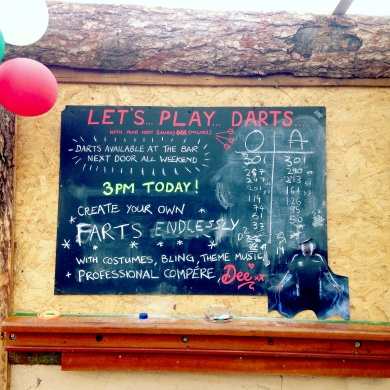 Laura Dee Milnes, Let's… Play… Darts. (2016). A p/farting gift from a player.