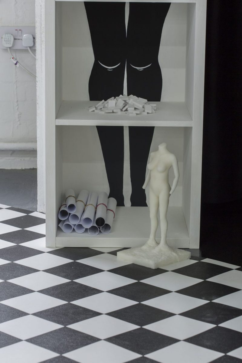 Laura Dee Milnes, The Making of Her (detail - including Pieces and Headless She), 2018. Photo: Oskar Proctor.